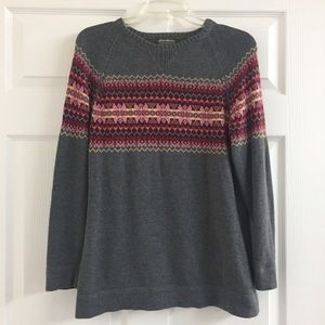 Eddie Bauer gray pullover sweater colorful stripe